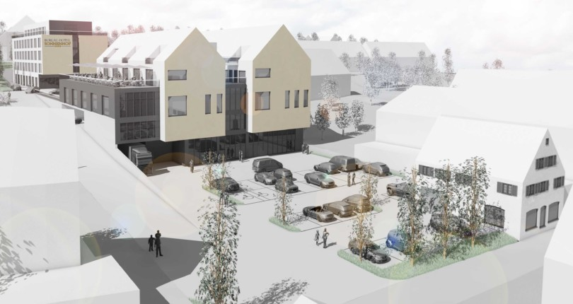 Neubau eines Geschäftshauses, Wohnungen und Hotels in Burgau